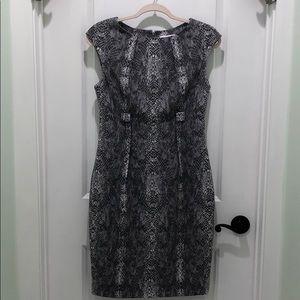Calvin Klein gray/white snake print dress